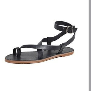 Madewell black leather Boardwalk Bare Sandals 5.5
